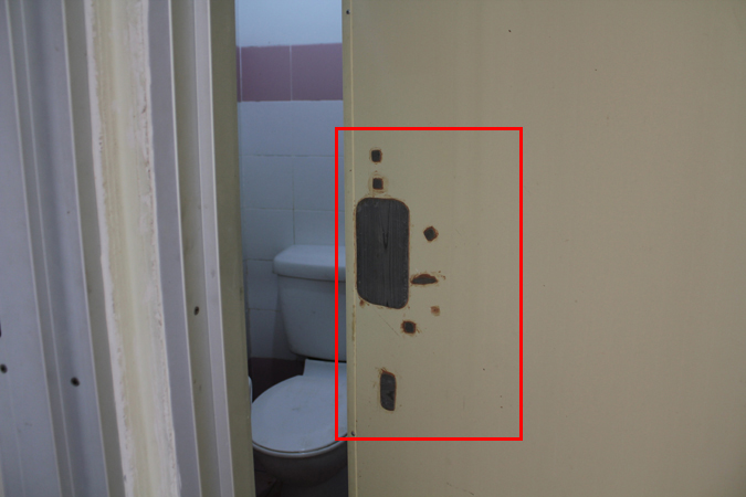 Toilet door without handle